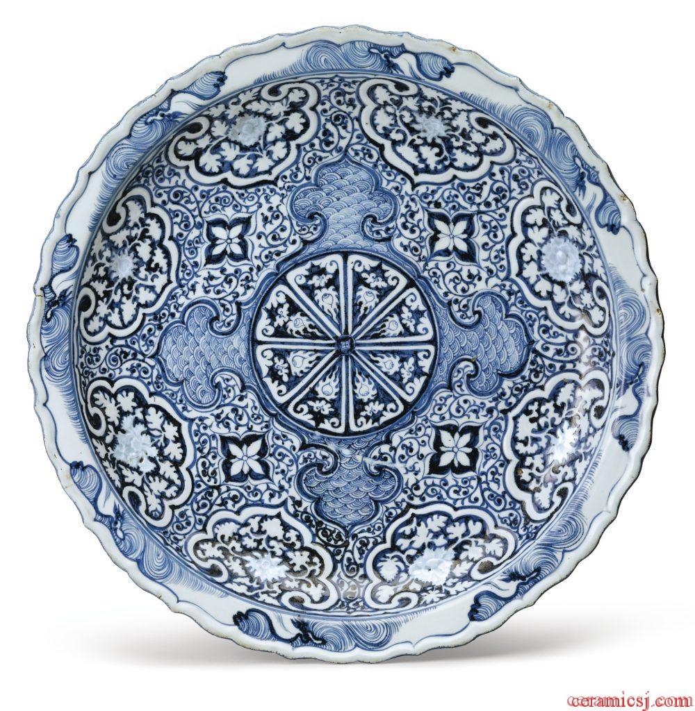 A RARE MOLDED BLUE AND WHITE BARBED RIM DISH YUAN DYNASTY, 14TH CENTURY