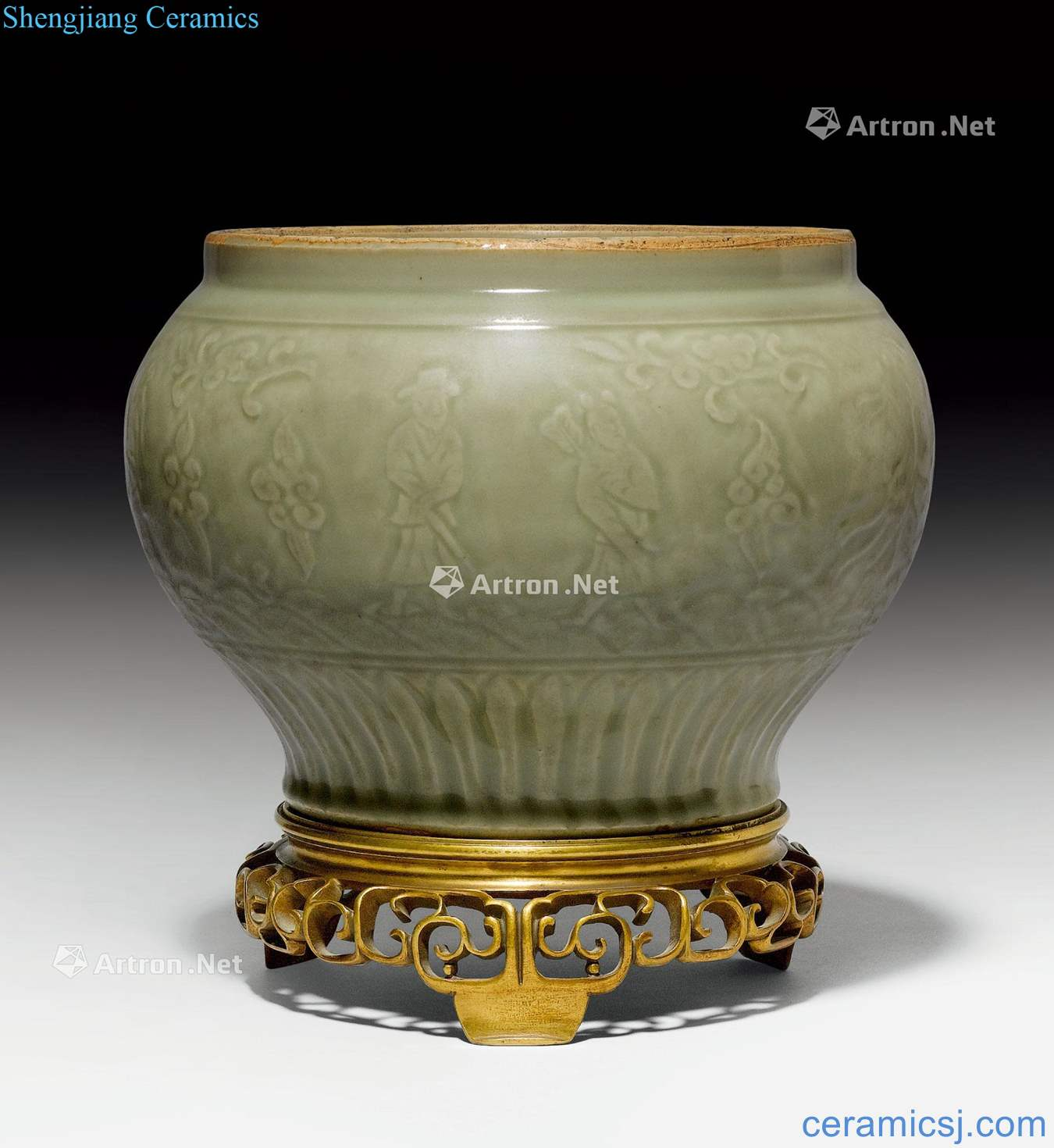 Yuan and early Ming dynasty A LONGQUAN CELADON BALUSTER JAR CARVED WITH THE EIGHT IMMORTALS.