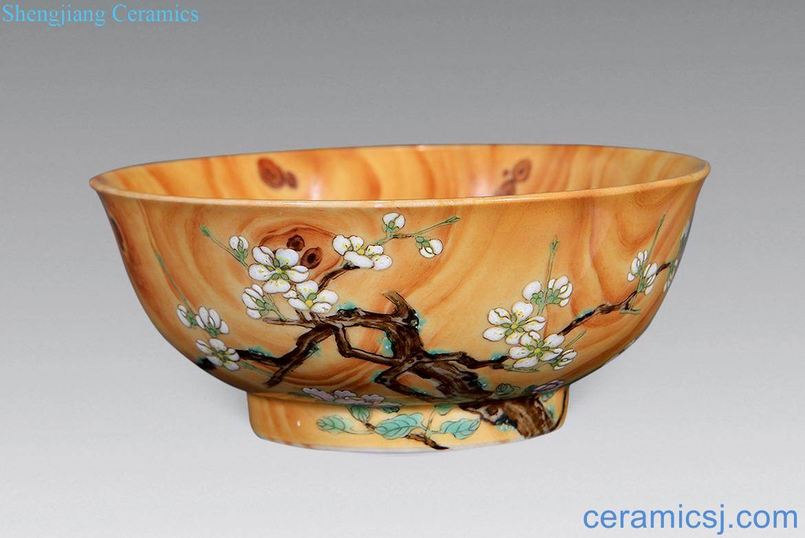 Qing imitation wood grain glaze enamel flower bowls